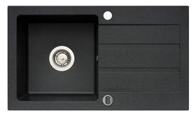 Zlewozmywak granitowy Onnline 76x44 cm z 1 komorą o rozmiarze 34x36 cm i ociekaczem, odwracalny,    grafit