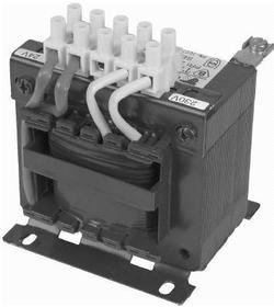 Transformator 1 fazowy TMM 300VA 400/24V ochronny, klasa cieplna izolacji - B, IP00, mocowanie śruby M4