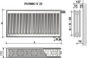 Grzejnik stalowy płytowy z podłączeniem dolnym V22 600x400 684W [Ventil Compact]