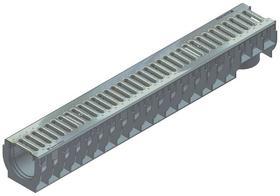 RECYFIX STANDARD 100, korytko typ 01 z rusztem szczelinowym, zaciskowym SW 75/9, przejezdne dla samochodów osobowych