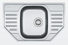Zlew POLAR PXL 612 E LEN, wymiary zewnętrzne: 780×490 mm, komora: 350× 410×175 mm, materiał: stal szlachetna, wykończenie: len