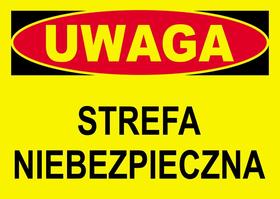 Budowlana tablica ostrzegawcza STREFA NIEBEZPIECZNA BTO-33