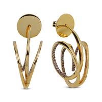 Swoonery-Yellow Gold Wave Hoop I Brown Diamond Earrings