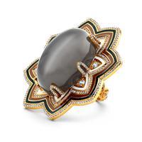 Swoonery-20K Grey Moonstone Enamel Ring