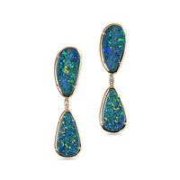 Swoonery-Double Blue Opal Earrings