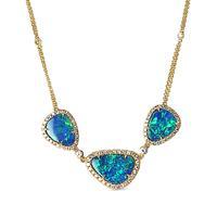 Swoonery-Triple Blue Opal Necklace