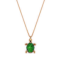 Aqua Light Small Turtle Necklace with Emeralds