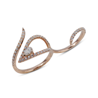 Swoonery-Rose Gold Le Phoenix Double-Finger Glow Ring