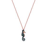 Swoonery-Aqua Light Seahorse Necklace with Blue Diamonds