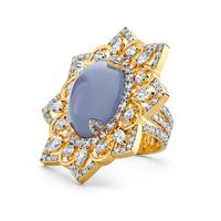Swoonery-20K Chalcedony Oval Ring