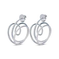 Swoonery-White Gold Wave Hoop I Diamond Earrings