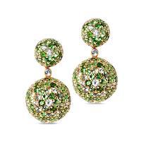 Swoonery-Green Sphere Drop Earrings
