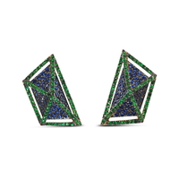 Swoonery-GeoArt Blue Sapphire and Tsavorite Earrings