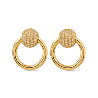 Swoonery-Sado Chic Earring Gold With Diamond Pavée