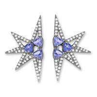 Swoonery-Shine Mini earrings - Tanzanites Black Rhodium