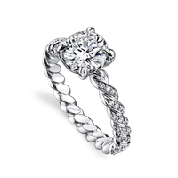 Swoonery-Round Brilliant 1.17ct Hand Twist Shank Ring