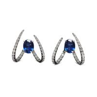 Swoonery-Le Phoenix Single Claw Blue Sapphire Earrings