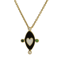 Swoonery-Holly Dyment Go Lightly Black Enamel And White Heart Pendant