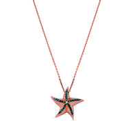 Swoonery-Aqua Light Starfish Necklace with Diamond Accents