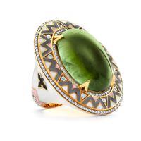 Swoonery-20K Green Tourmaline Enamel Ring