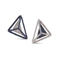 Swoonery-Reverse GeoArt Diamond and Blue Sapphire Earrings