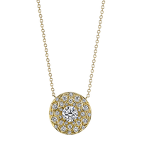 Swoonery-Round Diamond Solitaire Bloom Artisan Necklace