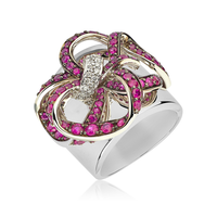 Swoonery-White Gold Lovely Bow Ring With Rubies