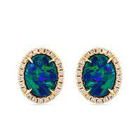 Swoonery-Blue Opal Stud Earrings