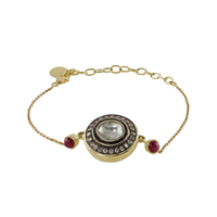 Swoonery-Gold and Silver Diamond and Spinel Bracelet