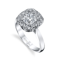 Swoonery-Cushion Cut 1.31ct Bloom Artisan Pave Ring
