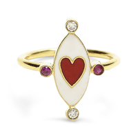 Swoonery-Holly Dyment Go Lightly White Enamel And Red Heart Ring