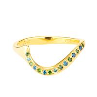 Swoonery-Blue & Green Diamond Serpentine Sleeps Ring
