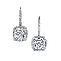 Swoonery-Cushion Cut Diamond Drop Earrings