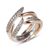 Swoonery-Rose and White Gold Le Phoenix Duo Claw Stack Ring