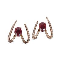 Swoonery-Le Phoenix Single Claw Ruby Earrings