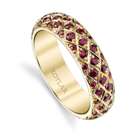 Swoonery-Criss Cross Ruby Pave Band