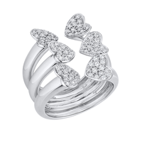 Swoonery-Big White Gold Heart Ring