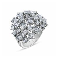 Swoonery-Haute Couture Platinum Ring With Asscher And Emerald Cut Diamonds