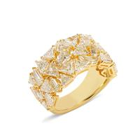 Swoonery-Haute Couture Half Way Set Fancy-Cut Diamond And 18K Yellow Gold Ring