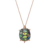 Swoonery-Aqua Light  Turtle Necklace with Precious Stones