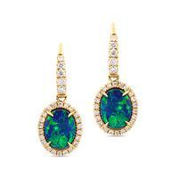 Swoonery-Petite Dangling Oval Blue Opal Earrings