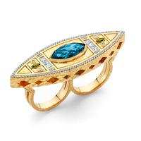 Swoonery-20K Lantern Hammered Marquise Double Finger Ring