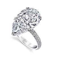 Swoonery-Pear Shape  8.19ct Diamond Chevron Artisan Ring