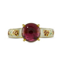 Swoonery-Gold and Silver Tourmaline Ring with Enamel