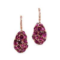 Swoonery-Wavy Rhodolite Garnet Drop Earrings