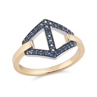 Keynes Signature Medium Sapphire Hexagon Motif Ring