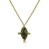 Swoonery-Holly Dyment Go Lightly Enamel Green Snake Pendant