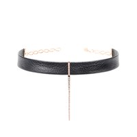 Diamond Bar Leather Choker