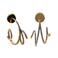 Swoonery-Yellow Gold Wave Hoop Mini I Brown Diamond Earrings