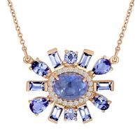 Swoonery-Tanzanite And Diamond Flower Pendant